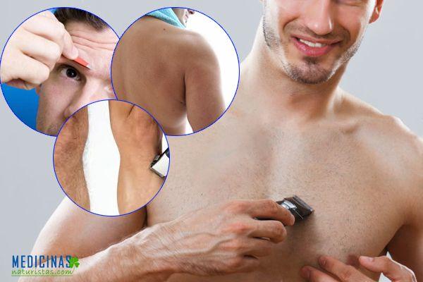 Depilación masculina, cejas, hombros, espalda, trasero, pecho, axilas