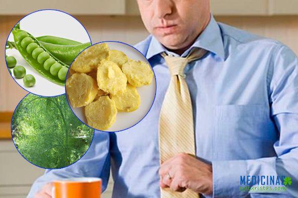 Patatas sancochadas con guisantes verdes