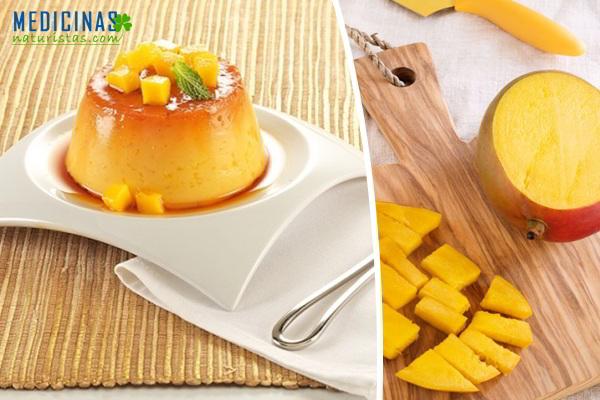 Flan de mango con nata de canela y coco, previene las arrugas