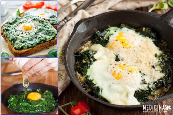 Receta de ESPINACAS con huevos para alejar la ANEMIA